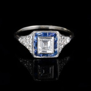 Art deco diamant saffier ring