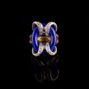 Bijzondere seventies ring met lapis